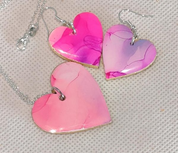 Pink and Gold heart jewellery