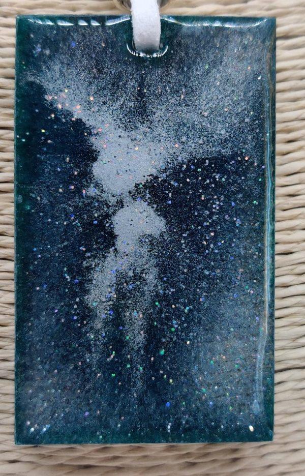 Teal Galaxy Pendant super close up