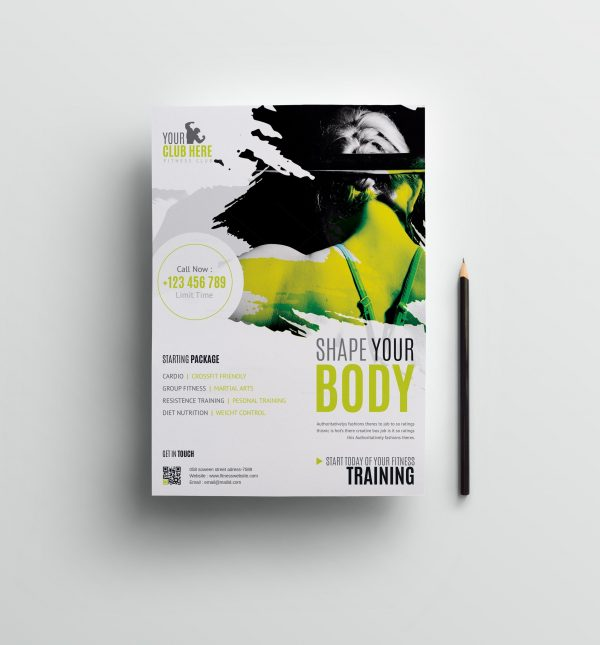 Fitness Club Professional Flyer Design Template 1 scaled