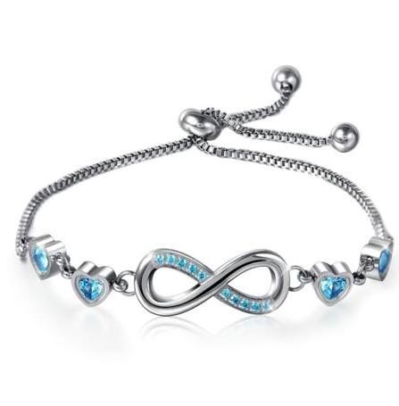 Blue Double Heart Infinity Bracelet (Free Delivery)
