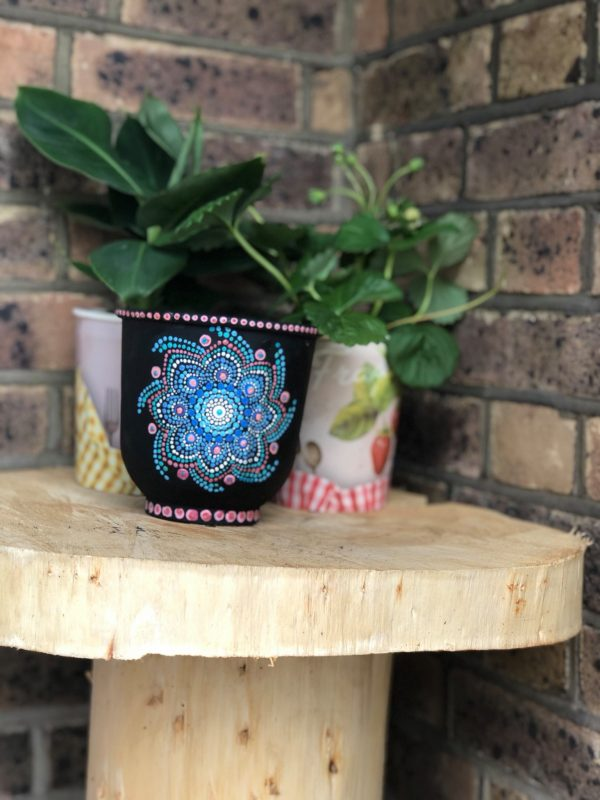 Terra Pot Handpainted with Dot MAndala