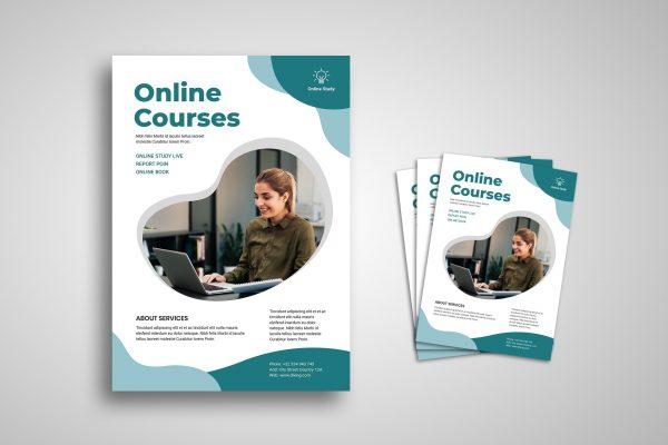 flyer template online courses promotion