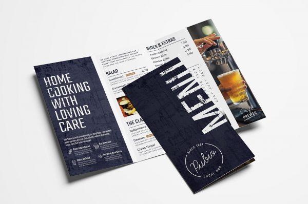 tri fold pub menu template