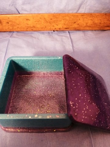 Square Trinket Box Blue Purple
