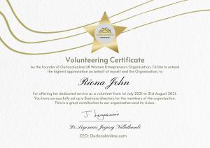 Riona John Certificate